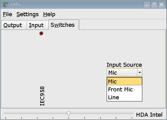 kmix screenshot with three options for Input Source field